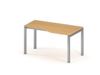 Íróasztal, egyedi formájú, 1400×800-as, fémlábas, jobbos, íves asztal