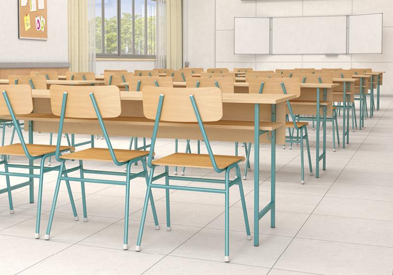 Négyzetcsővázas asztalok és tantermi székek