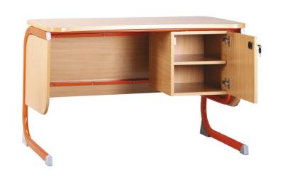 tanári asztal, oldalszerkénnyel, rétegeltlemez, dekorit borítással
