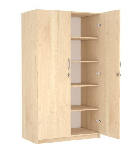 korpusz és ajtók: 18 mm vastag laminált bútorlap, 2 mm vastag ABS élzárás, hátfal: 3 mm vastag fehér színű HDF, középen osztott, mindkét részben 4-4 polcos, két ajtós, biztonsági zárral szerelt kivitel.