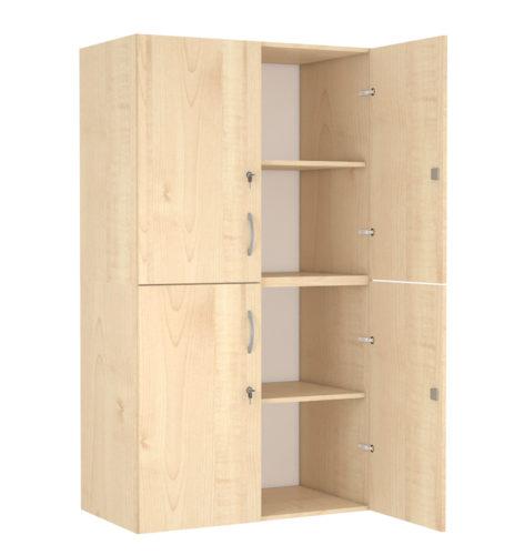 4 ajtós, 3 polcos, középen osztott szekrény