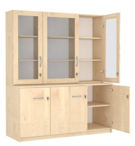 3 polcos, 3 üveg és 3 teli ajtós szekrény