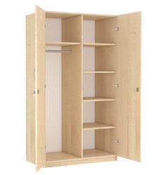 2 ajtós, akasztós, 4 polcos szekrény