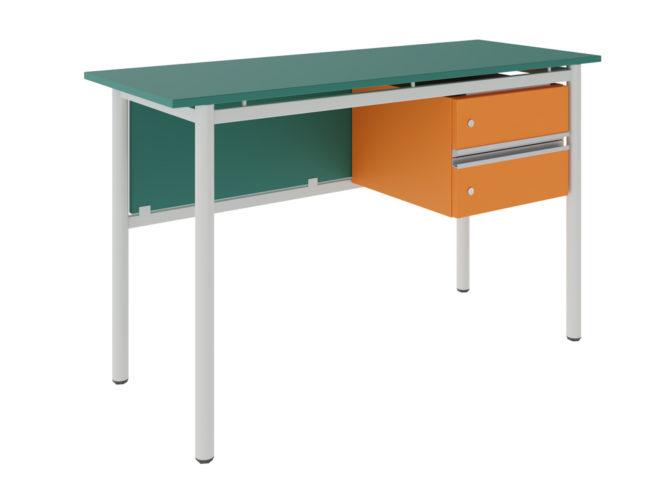 tanári asztal 2 fiókkal, dekorit, sarkos