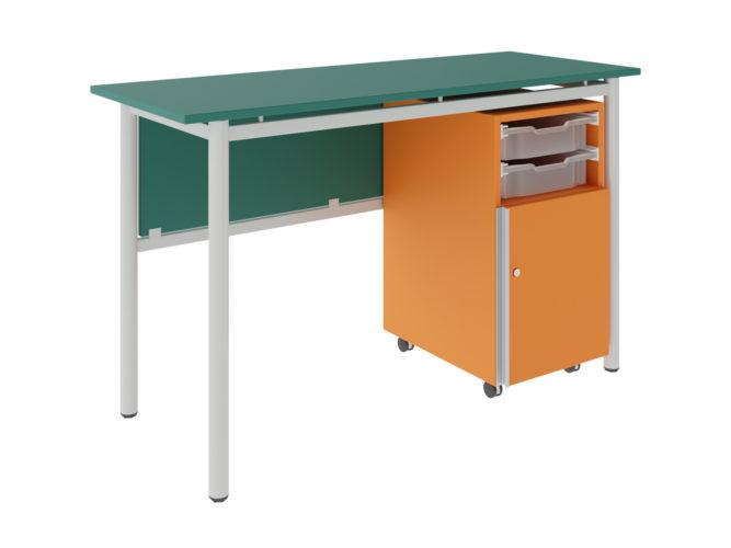 tanári asztal 2 fiók, 1 ajtó, dekorit, sarkos