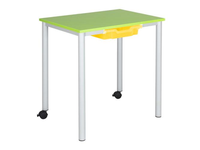 tanulói asztal, görgős, laminált, sarkos lap