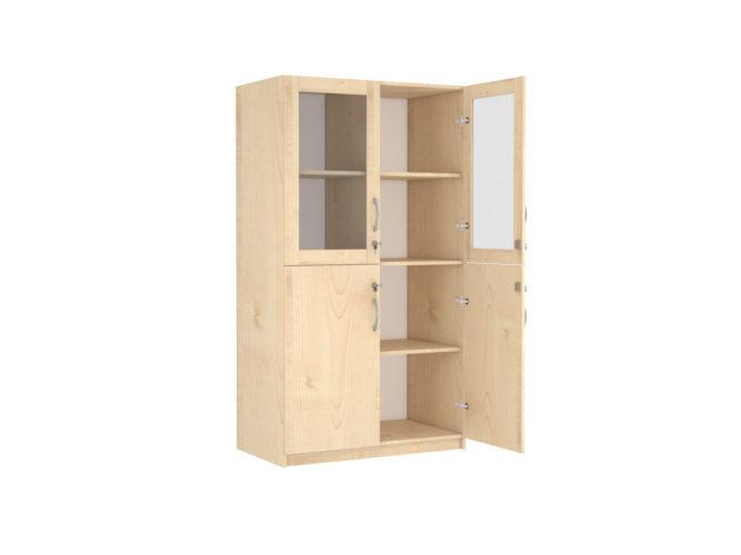 2 üveg és 2 teli ajtós szekrény