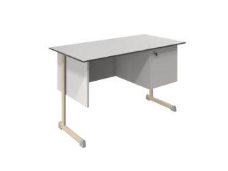 oldalszekrényes tanári asztal, kompaktlemez lappal