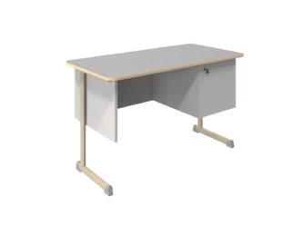 oldalszekrényes tanári asztal, rétegeltlemez, dekorit borítással
