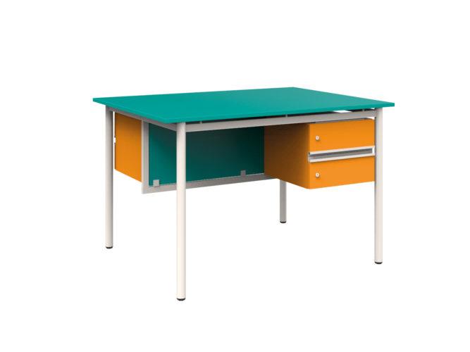 szembenülős tanári asztal 2 fiókkal, laminált, sarkos