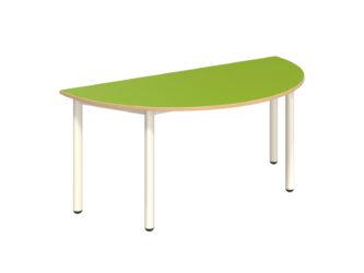 Mese félkör asztal fém vázzal, rétegeltlemez, dekorit borítású asztallappal