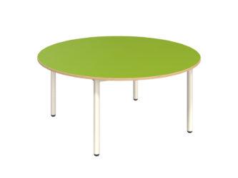 Mese kör asztal fém vázzal, rétegeltlemez, dekorit borítású asztallappal