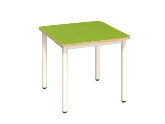 Mese négyzet asztal fém vázzal, rétegeltlemez, dekorit borítású asztallappal