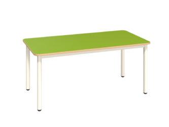 Mese téglalap asztal fém vázzal, rétegeltlemez, dekorit borítású asztallappal