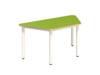 Mese trapéz asztal fém vázzal, rétegeltlemez, dekorit borítású asztallappal