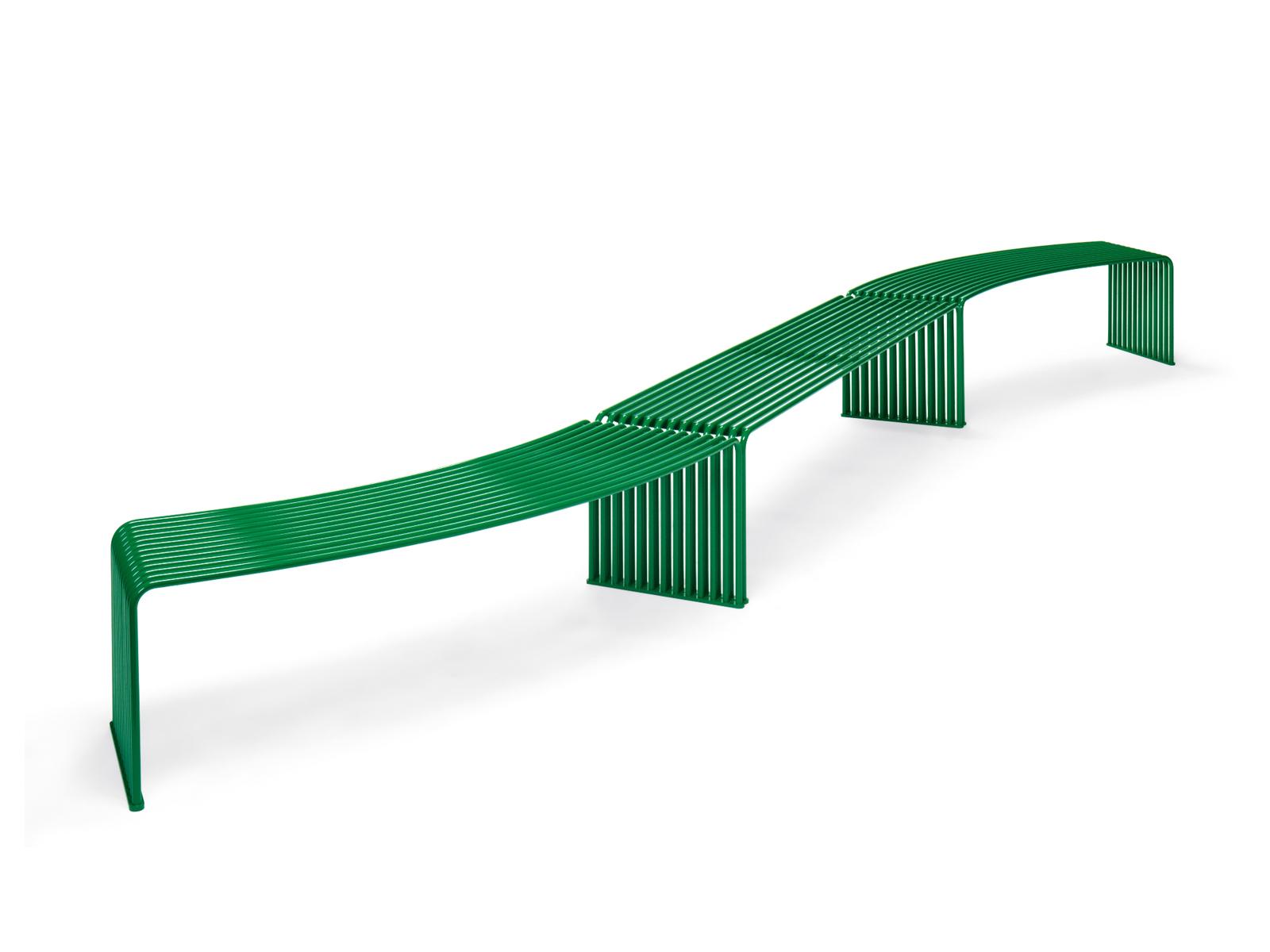 Konkáv/konvex alakú támla nélküli kültéri pad